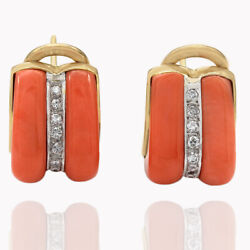 Coral And Round Diamond Earrings With Omega Backs In 18k Yellow Gold