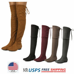 Women#x27;s Over The Knee Flat Boots Lace Up Suede Leather Boots $29.63