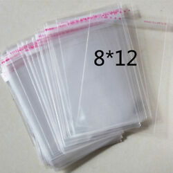 100 Pcs 8cmx12cm Self Adhesive Plastic Bag Clear Jewelry Packaging 3.1quot;x4.7quot; C $2.54