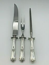 Stately By State House Sterling Silver 3 Piece Carving Set, Gently Used
