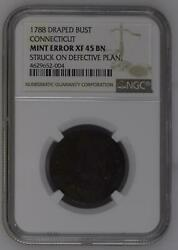 1788 Post Colonial Issues Connecticut - Copper Ngc Xf45 Mint Error Bn