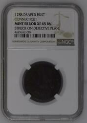 Post Colonial Issues Connecticut - Copper 1788 Ngc Xf-45 Bn Connecticut Mint Err