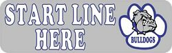 10in x 3in Blue Bulldog Start Line Here Magnet Car Truck Vehicle Magnetic Sign
