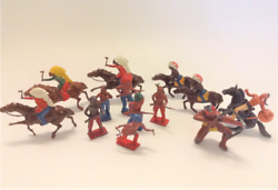 Lot Of 12 Miniature Lead Native American Indians Britains And Others 3 On Horses