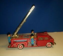 Vintage Tin Litho Fire Truck W/ Automatic Bumper Activated Fire Ladder Sti Toys