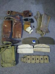 Vintage Wwii Military Uniforms, Boots, Headgear, Belt,shaving Kit And Lots Extra