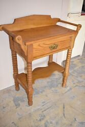 Vintage Solid Oak Wash Stand, Commode Table