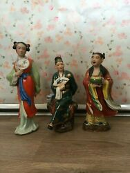 Vintage Chinese Man And Women Figurines Rare Nice Details Beautiful Colors