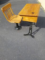 Antique Cast Iron Wood Kenney Brothers 7 Child Adjustable Desk Chair Boston Ma