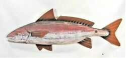 Fish Rustic Wood W/metal Fins Hand Crafted And Painted Wall Art Red