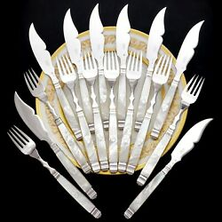 Antique French Sterling Silver And Mother Of Pearl Handled 16pc Fish Flatware Set