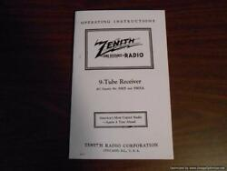 1938 Zenith Radio 9-s-232 Walton Chassis 5905 Operating Instructions Copy