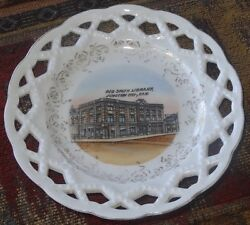 Junction City Kansas George Smith Library Souvenir Plate Early 1900s Lattice