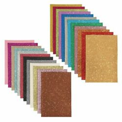 24x Glitter Fabric Sheets Faux PU Leather for DIY Crafts 24 Colors 6 x 9 inch $10.99