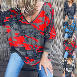 Women Floral Long Sleeve T Shirt Casual Tops Loose Blouse Sexy Deep V Neck Tunic $12.99