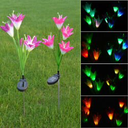 2 Pack Solar Power Lily Flower LED Lights Garden Stake Lamp Yard Outdoor Decor