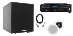 Technical Pro Home Theater Receiver+2 5.25 White Ceiling Speakers+8 Subwoofer