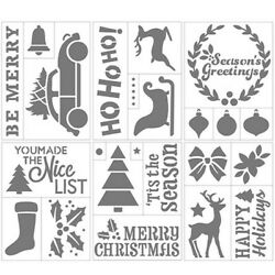 Darice CHRISTMAS Themed Self Adhesive Stencil Tree Stocking Holly 6quot; x 8quot; $7.25