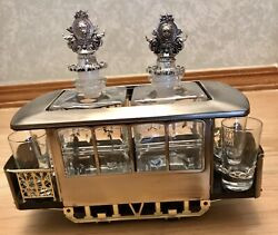 Vintage Collectible Musical Box-train With 2 Crystal Bottles And 4 Glass Shots