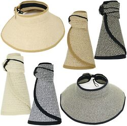 Two Tone Packable Roll Up Sun Visor Beach Straw Hat $9.95