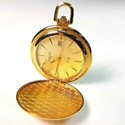 Vintage Wittnauer Quartz Pocket Watch With Day Window Glod Toned New Battery