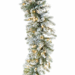 9' Led Lighted Frosted Pine Garland Christmas Mantle Handrail Raz G3952010 New