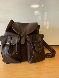 Clava backpack large brown leather logo On Flap Colombia Vachetta Cafe $32.00