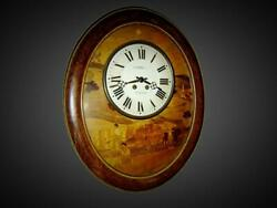 Antique Rare French Morez Vineyard Baker Wall Clock With Amazing Wood Marquetry.
