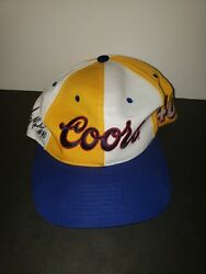Vintage Sterling Marlin Coors 40 Yellow White Blue Snap Back Hat Rare Htf