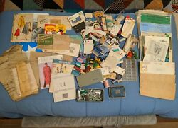Huge Lot Of Misc. Vintage Cross Stitch Transfer Patterns Sewing Tools Etc. +++