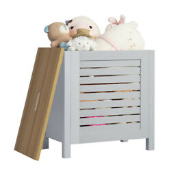 Wooden Toy Storage Organizer Kids Toy Chest W Lid for Kindergarten Bedroom Gray