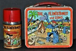 1962 Flintstones And Dino Vintage Lunchbox W/thermos