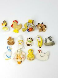 Vintage Lot Of 13 1980 Clarke Animal Refrigerator Magnets Mixed Pieces, Used,