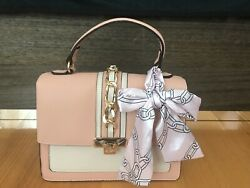 New ALDO Anniebrook Handbag Faux Leather Satchel Purse Pink White $43.00