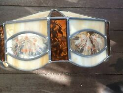 Vtg Stained Glass Lamp Shade Gold Beige And Amber Floral Pressed Flowers 1970's