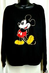 Disney Women#x27;s Lightweight Long Sleeve Mickey Mouse Soft Sweater Black L XL NWT $24.74