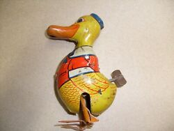 Vintage J. Chein Mechanical Tin Litho Walking Duck Wind Up Toy Working