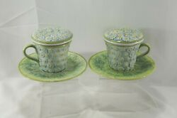 Nordstrom Italy Majolica Covered Mugs With Tea Strainer Insert Set Of 2