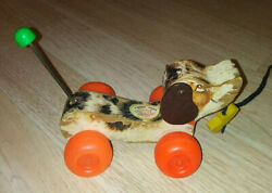 Vintage Fisher Price Little Snoopy Dog Wood Pull Toy 1968
