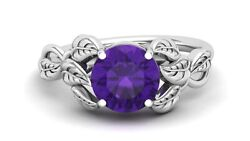 Aaa Natural Amethyst Engagement Ring Vintage Art Deco Bridal Ring For Birthday
