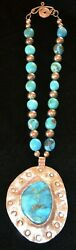 Native American Indian Black Eagle Silver And Turquoise Necklace