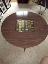 Vintage Walnut W/ Formica Top Inlaid And Glass Round Coffee Table Rare Mid Century