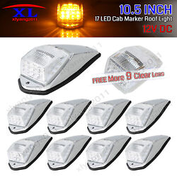 9 X 10.5 Clear Amber Truck Running Roof Top 17 Led Maker Cab Lights Trailer Rv