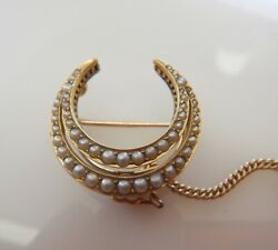 Excellent Super Quality Antique 18ct Gold And Pearl Horseshoe Brooch