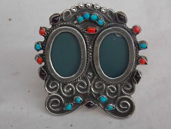 Vintage Mexican Sterling Silver Double Picture Frame W/ Stones Matl Style Taxco