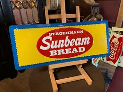 New Old Stock Sunbeam Bread Embossed 30 Tin Advertising Sign Watch Video