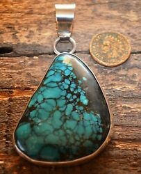 Native American Indian Black Eagle Turquoise And Silver Pendant