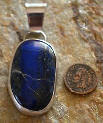 Native American Indian Black Eagle Lapis And Silver Pendant