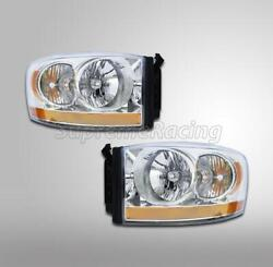 Left + Right Replacement Headlight For 2006-2009 Dodge Ram 3500 W/ Bulb And Socket