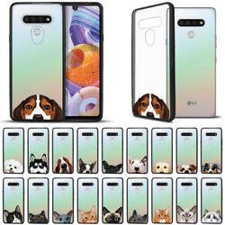 For LG Stylo 6 6.8quot; 2020 Dog Cat Black Hybrid Fusion Bumper Clear Case Cover